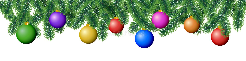 Koniferenbaumaste des nahtlosen Vektorwinters mit Nadelblättern und hängende bunte Weihnachtsbirnen auf weißem Hintergrund lizenzfreie abbildung