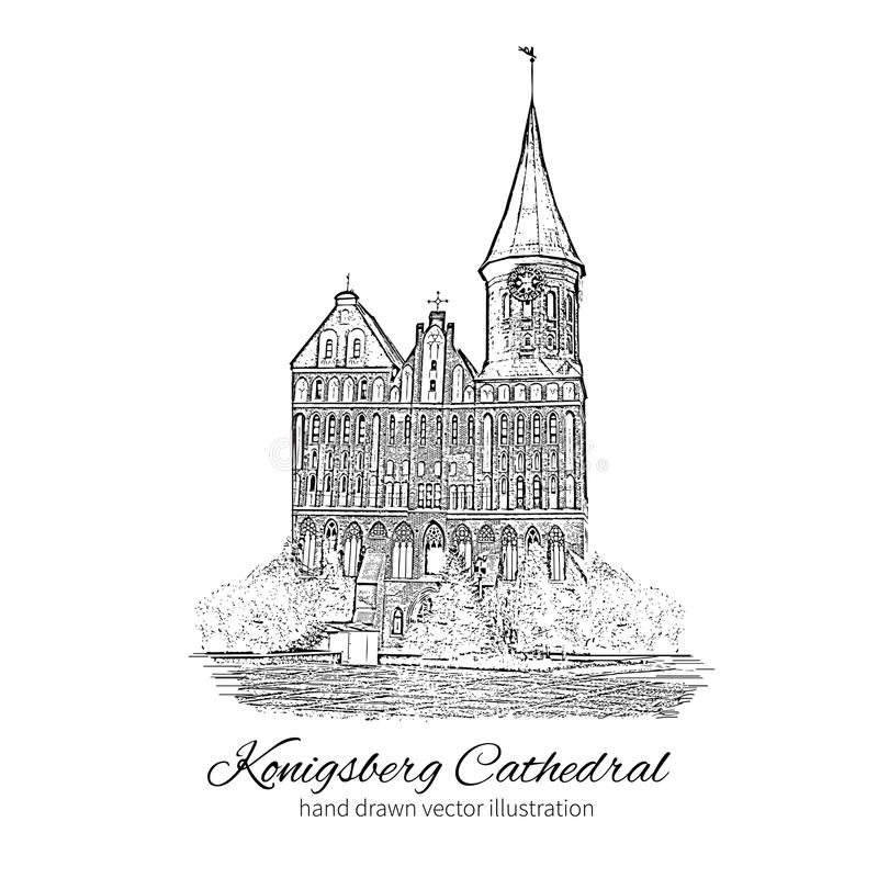 Konigsberg Cathedral, Landmark of the city of Kaliningrad, Russia, Cathedral Church on Kant island, Is main symbol of. Konigsberg Cathedral, Landmark of the city stock illustration