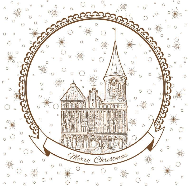 Konigsberg domkyrka, gränsmärke av staden av Kaliningrad, Ryssland, kort för vektorjulhälsning med domkyrkakyrkan royaltyfri illustrationer