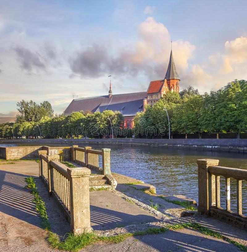 Konigsbergkathedraal op Kant Island Kaliningrad, Rusland royalty-vrije stock foto's