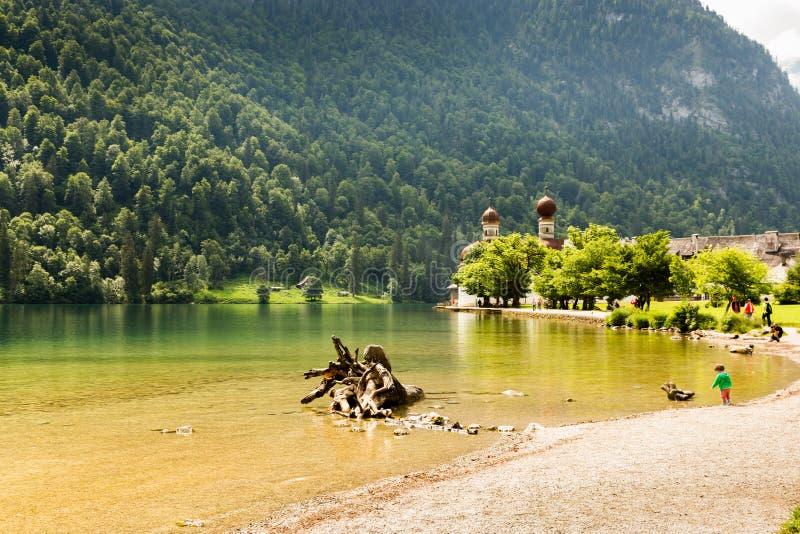 Konigssee湖,叫作德国` s最深和最干净的湖 免版税库存图片