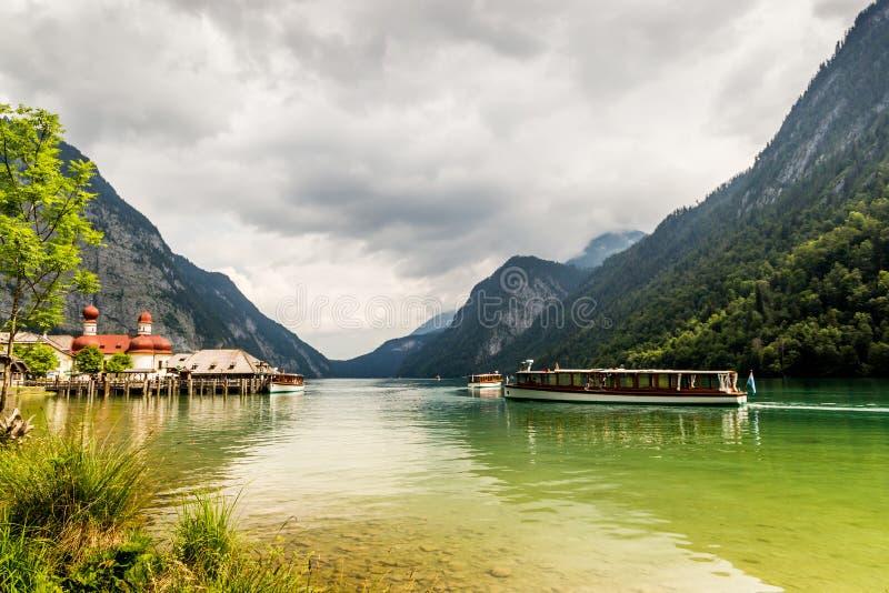 Konigssee湖,叫作德国` s最深和最干净的湖 库存照片