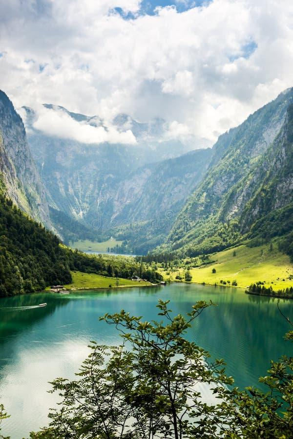 Konigssee湖,叫作德国` s最深和最干净的湖 图库摄影