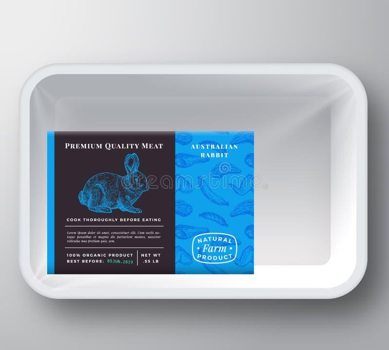 Konijn Abstract Vector Plastic Tray Container Cover Het Vlees van de premiekwaliteit het Etiketlay-out van het Verpakkingsontwerp royalty-vrije illustratie