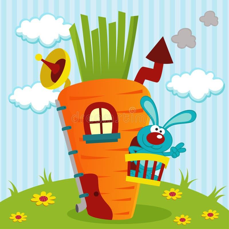 Konijn binnenshuis van wortelen vector illustratie