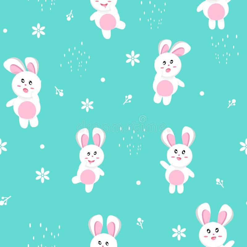 Konijn in de winter, naadloos patroon, Gelukkige Pasen, de vakantie van de van het achtergrond aardseizoen de leuke baby textuurd royalty-vrije illustratie
