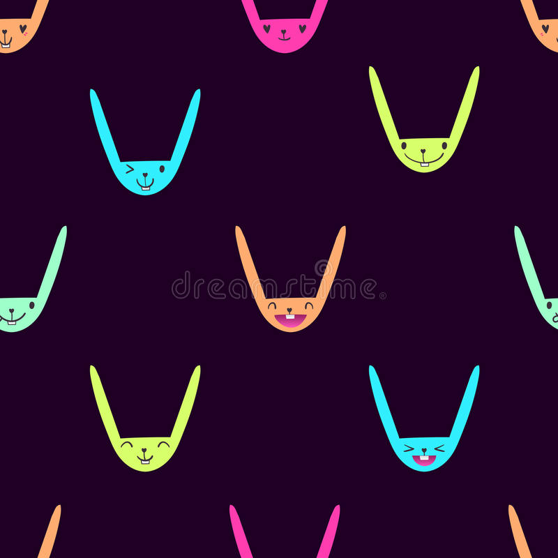 Konijn Emoticons patroon-13 stock illustratie