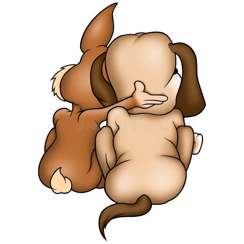 Konijn en hond stock illustratie
