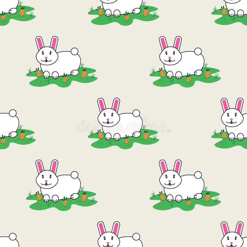 Konijn en wortel hazen Gelukkig konijntje Vector naadloos patroon vector illustratie