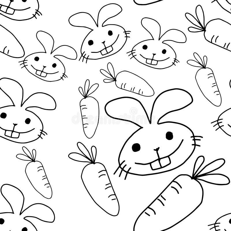 Konijn en wortel naadloos patroonontwerp - vectorillustratie vector illustratie
