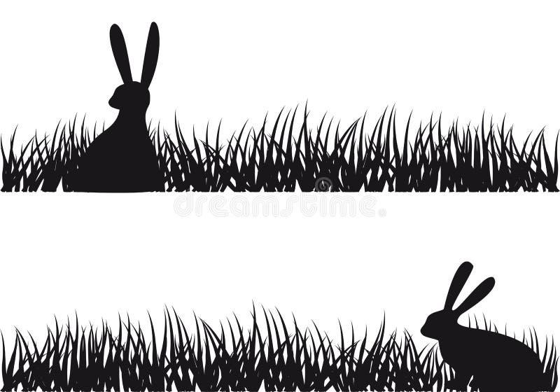 Konijn in gras,   stock illustratie