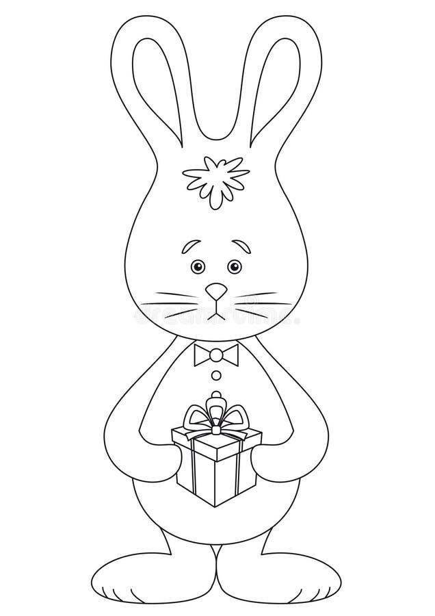 Konijn met een zwart-witte gift, stock illustratie