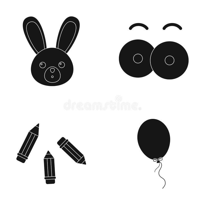 Konijn met lange oren, kleurpotloden voor tekening, blauwe luchtballon, oogspeelgoed met wenkbrauwen Speelgoed geplaatst inzameli royalty-vrije illustratie