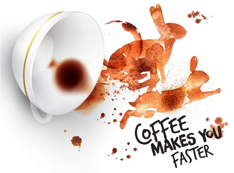 Konijn van de affiche het wilde koffie royalty-vrije illustratie
