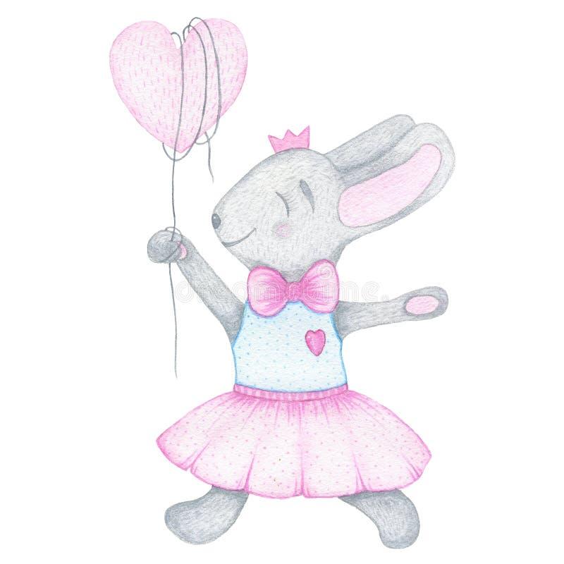 Konijn van het waterverf het hand getrokken leuke die konijntje met ballon en kroon op witte achtergrond wordt geïsoleerd vector illustratie