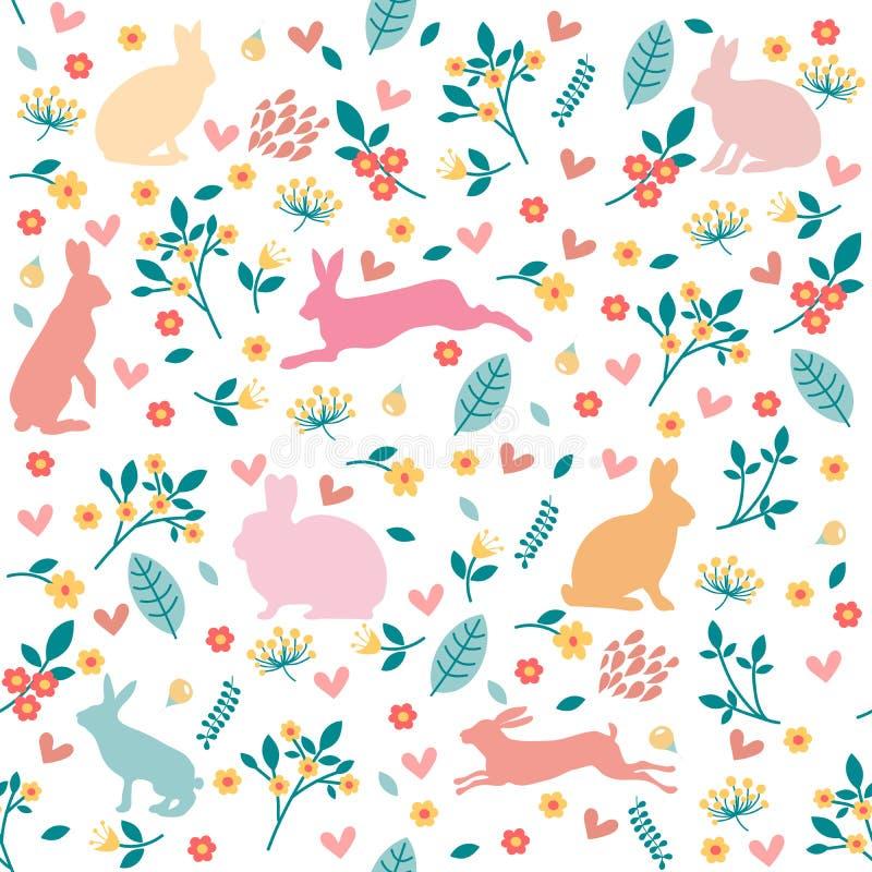 Konijnen in harten en bloemen stock illustratie