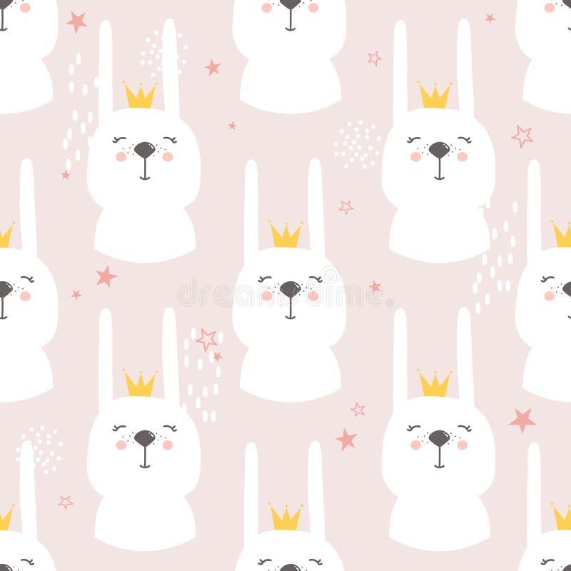 Konijnen met kronen, decoratieve leuke achtergrond Kleurrijk naadloos patroon met snuiten van dieren vector illustratie