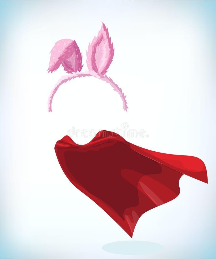 Konijnoren Hazenoren op de rand Het hoofddeksel van het maskeradekostuum Het masker van Carnaval of Halloween- De vectorillustrat vector illustratie