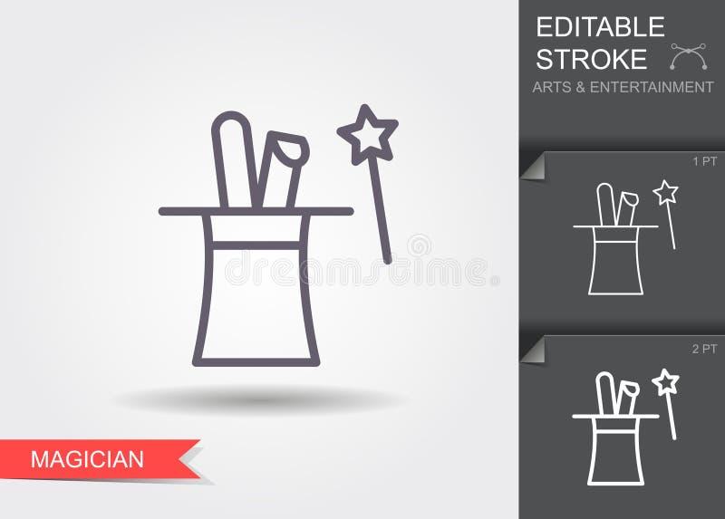 Konijnoren in magische hoed Lijnpictogram met editable slag royalty-vrije illustratie
