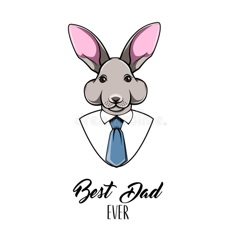 Konijnpapa Gelukkige de groetkaart van de vadersdag Bunny Father Het overhemd van mensen, Band, Stropdas Beste papa ooit tekst Pa vector illustratie