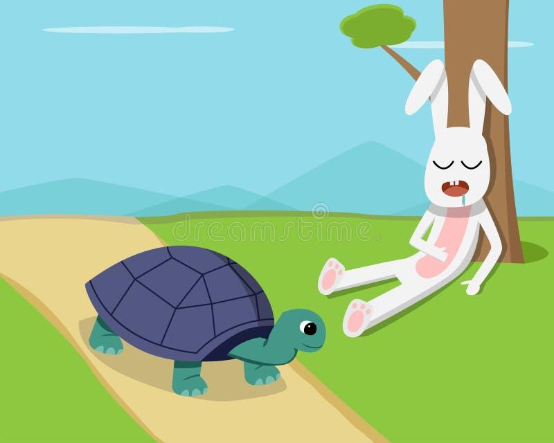 Konijnslaap onder boom terwijl de schildpad op weg loopt vector illustratie