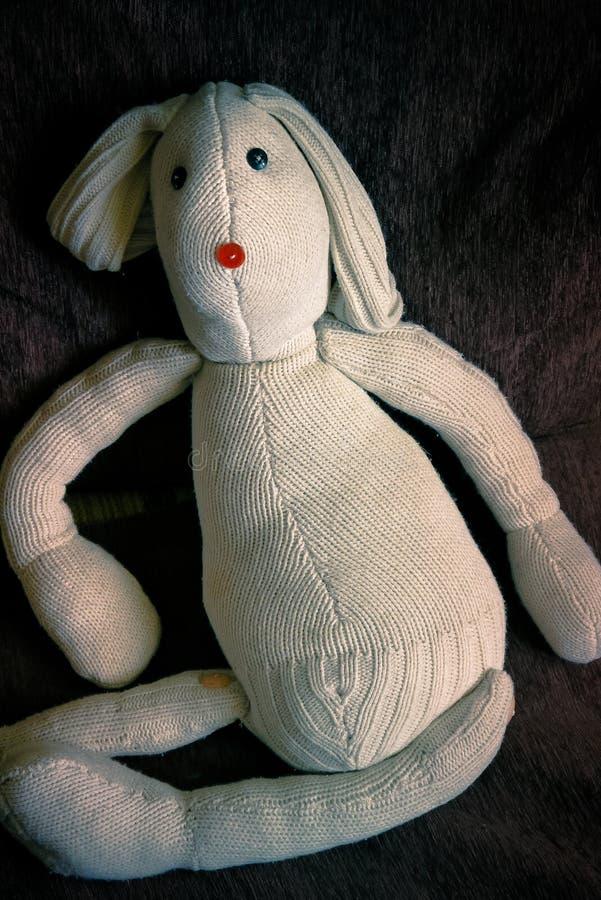 Konijnstuk speelgoed met de hand gemaakte doek royalty-vrije stock foto