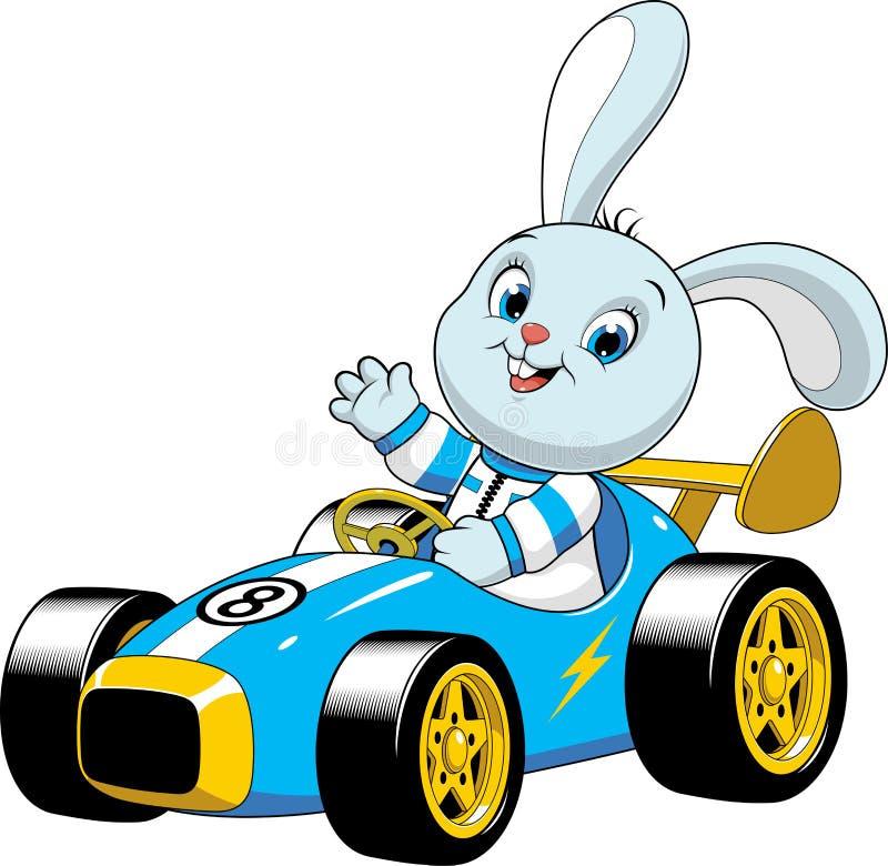 Konijntje in een sportwagen vector illustratie
