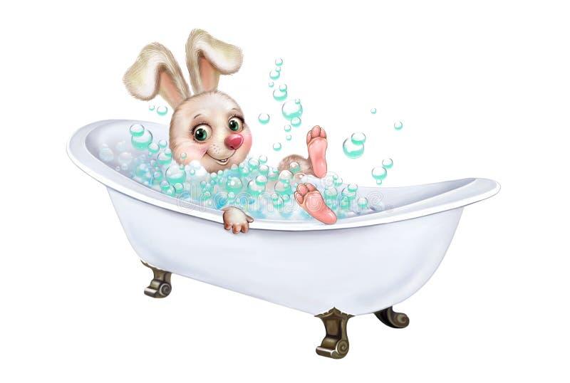 Konijntje het baden in het bad royalty-vrije illustratie