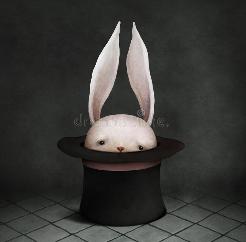 Konijntje in hoed royalty-vrije illustratie