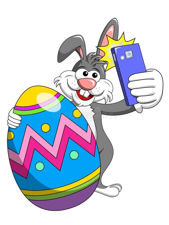 Konijntje of konijn die selfie fotosmartphone met verfraaid ei geïsoleerde Pasen nemen royalty-vrije illustratie