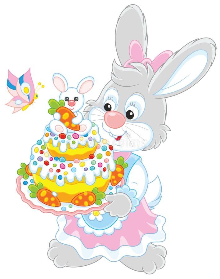 Konijntje met een Pasen-cake royalty-vrije illustratie
