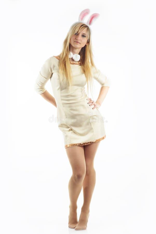 Konijntjesmeisje in wit royalty-vrije stock afbeeldingen