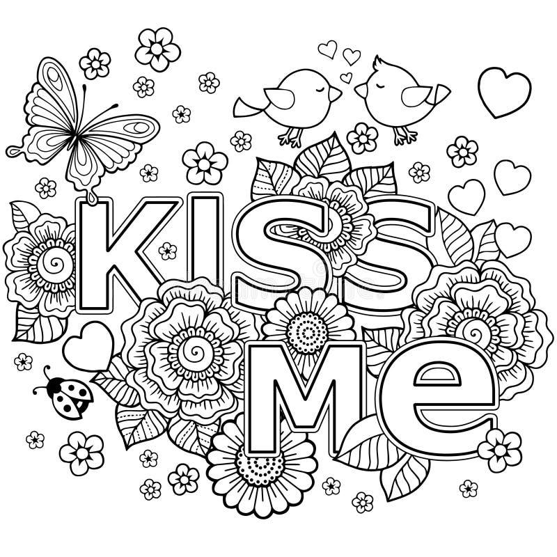 konik śpiący Rounder rama robić kwiaty, motyle, ptaków całować i słowo miłość, ilustracja wektor