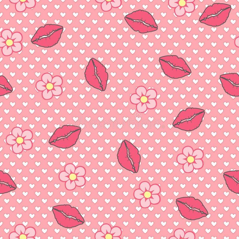 konik śpiący Wektorowy bezszwowy wzór, abstrakcjonistyczny tło robić wargi i kwiaty, ilustracji