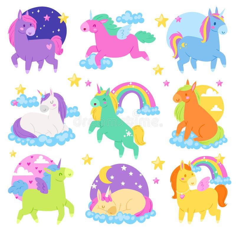 Konik kreskówki wektorowa jednorożec lub dziecko charakter dziewczęcy koń z rogiem i kolorowy ponytail ilustracyjnym ustawiającym royalty ilustracja