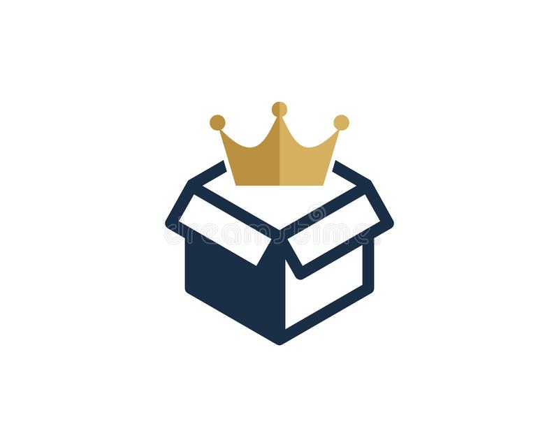 Koning Box Logo Icon Design royalty-vrije illustratie