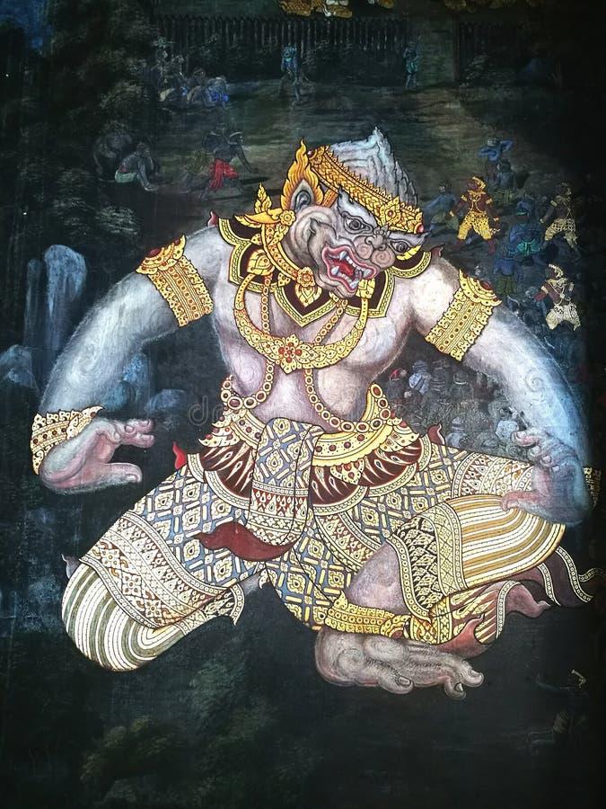 Koning die van aapmuurschildering Groot paleis Thailand schilderen stock afbeeldingen