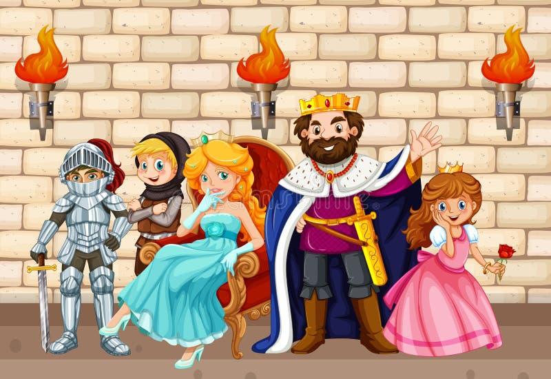 Koning en andere fairytalekarakters stock illustratie