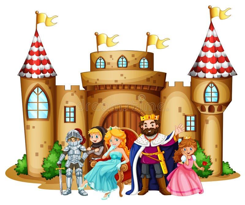 Koning en koningin bij het kasteel royalty-vrije illustratie