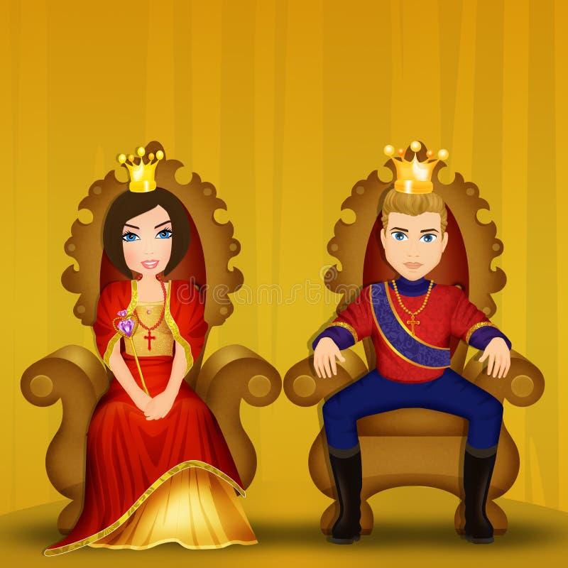 Koning en koningin gezet op de troon vector illustratie