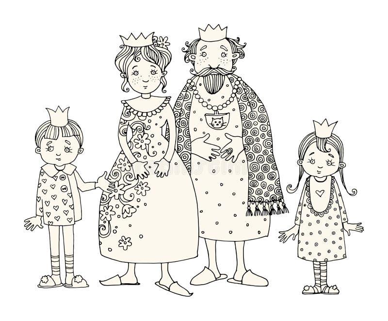 Koning en Koningin met jonge geitjes royalty-vrije illustratie