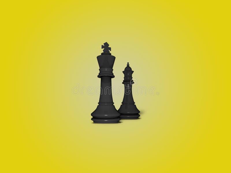 Koning en koningin zwarte schaakcijfers royalty-vrije stock afbeeldingen