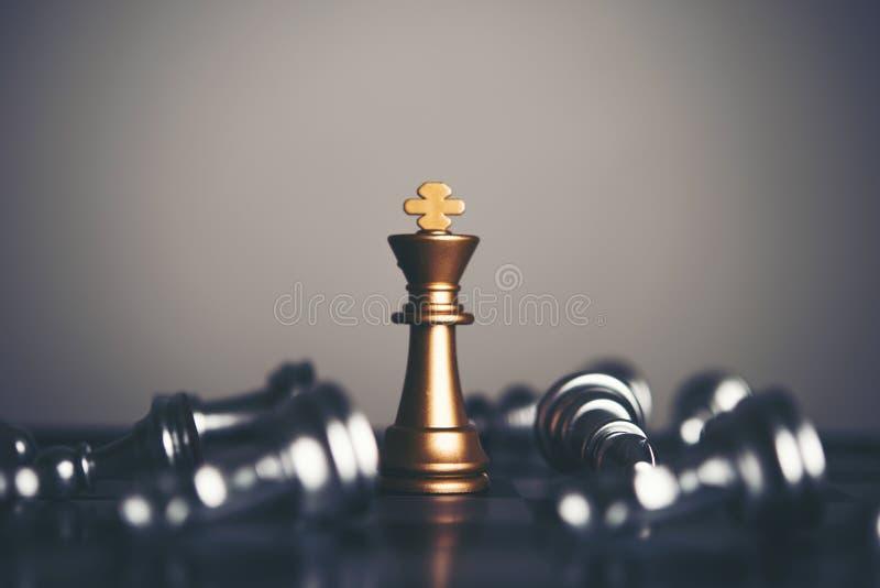 Koning en Ridder van schaakopstelling op donkere achtergrond Leider en t stock afbeeldingen