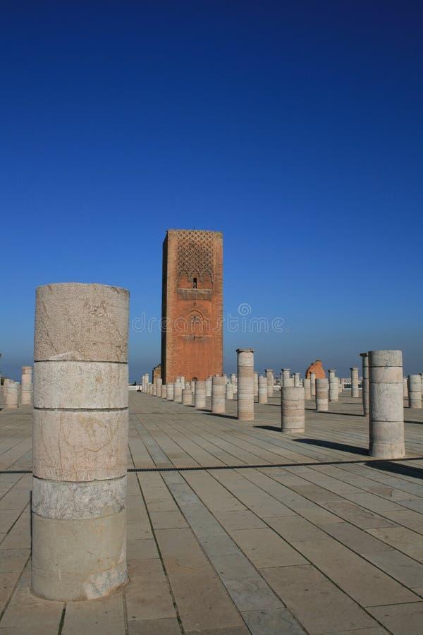 Koning Hassan Tower Marokko stock fotografie