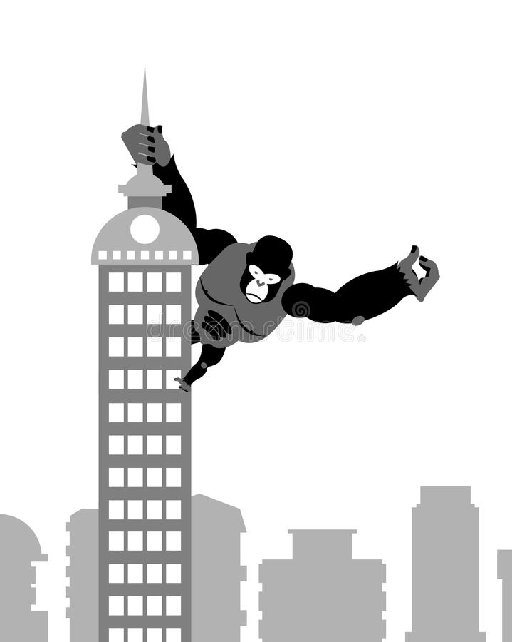 Koning Kong bij de bouw De sterke grote gorilla houdt Spitswolkenkrabber stock illustratie