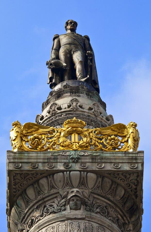 Koning Leopold I Standbeeld op de Congreskolom in Brussel. stock fotografie