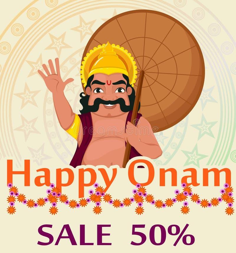 Koning Mahabali Gelukkig Onam-festival in Kerala Affiche met ornament voor verkoop vector illustratie
