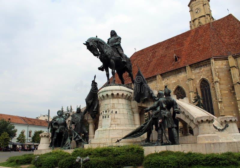 Koning Matthias Corvin Statue stock afbeelding