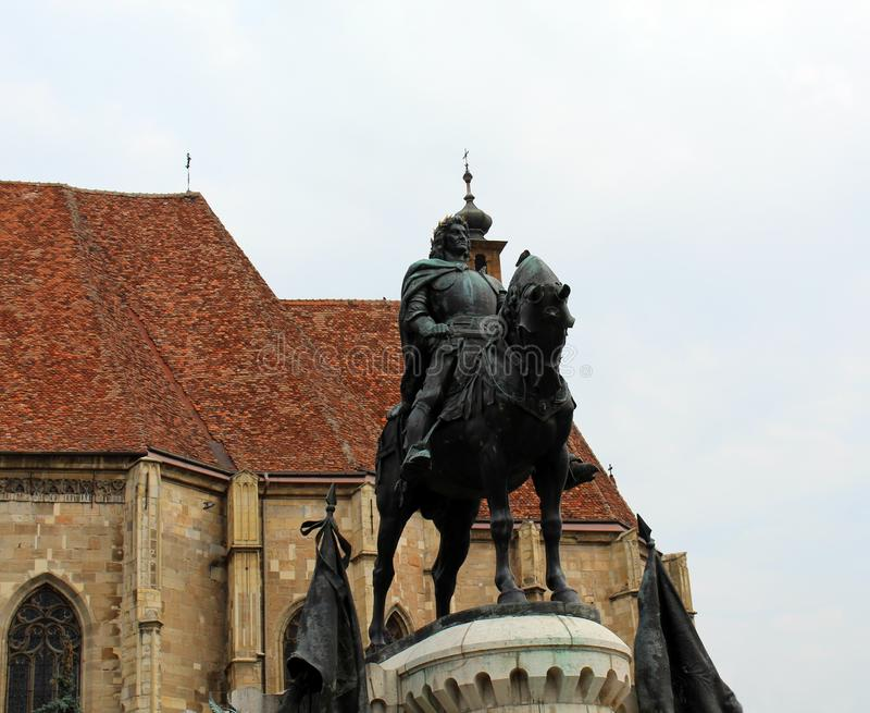 Koning Matthias Corvin Statue royalty-vrije stock fotografie