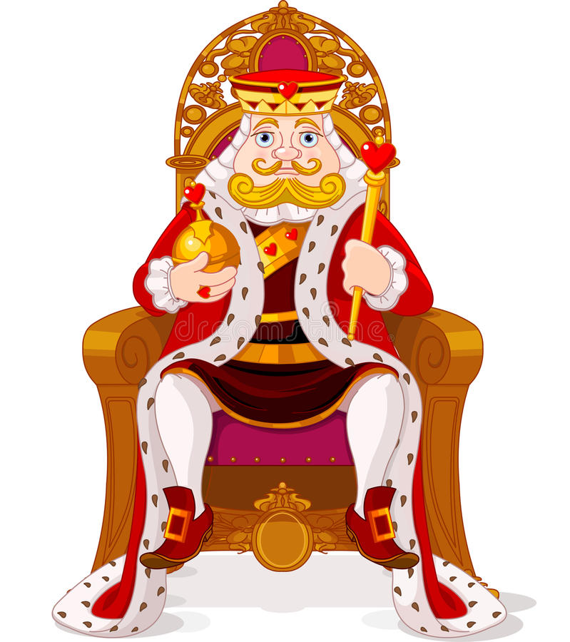 Koning op de troon stock illustratie